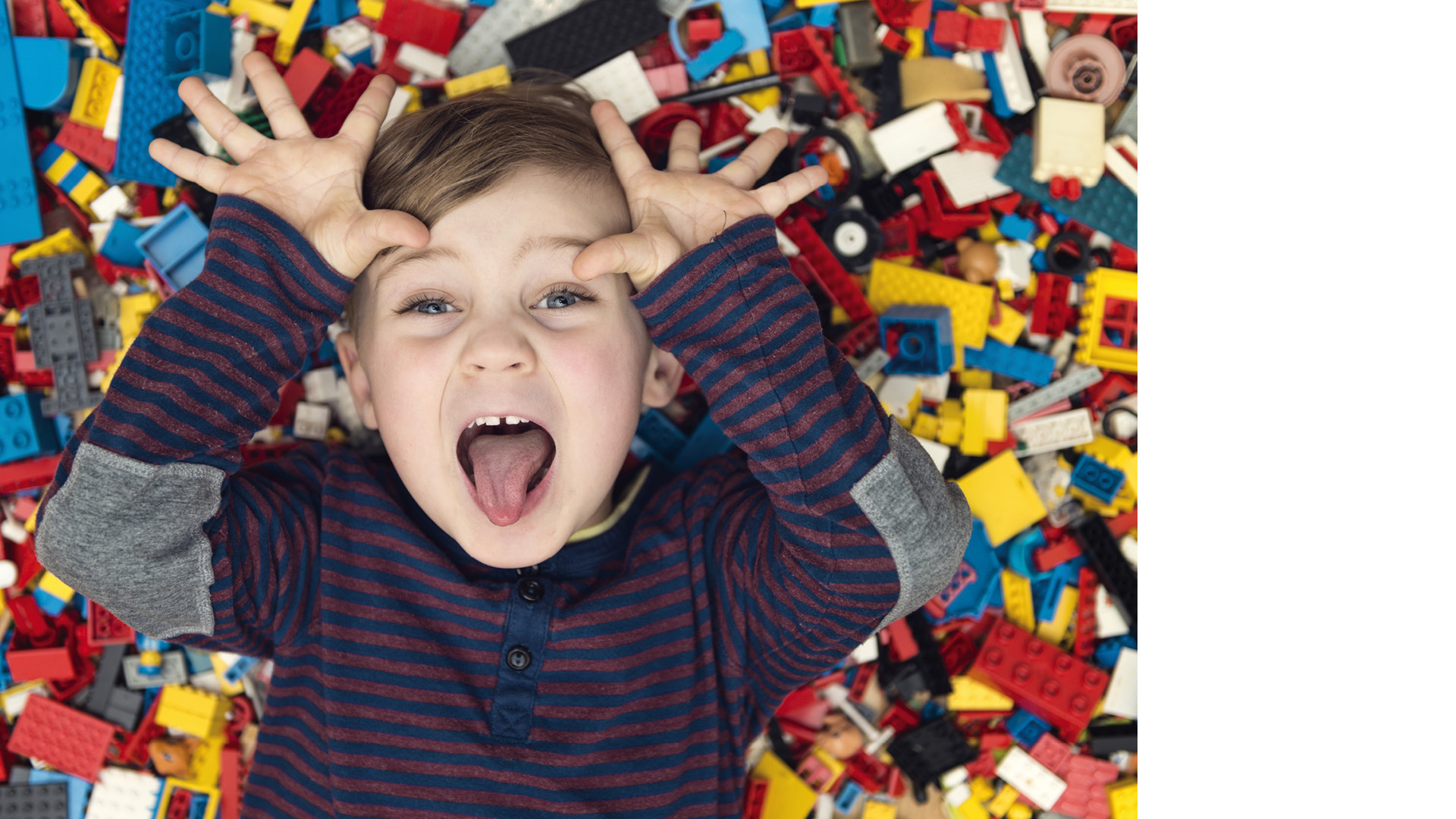 Photo d'un enfant allongé sur une tonne de LEGO.