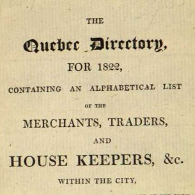 The Quebec Directory for 1822