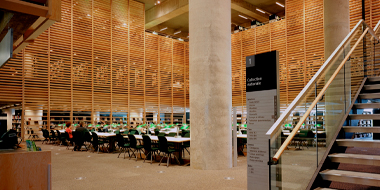 Reading room of the National Library located inside the Grande Bibliothèque.