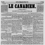 Une du journal Le Canadien.