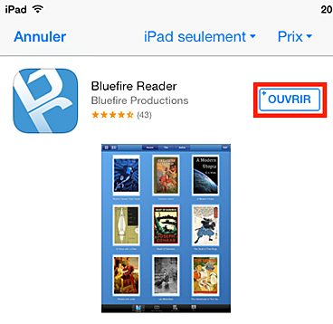 L'application Bluefire Reader dans l'App Store avec le bouton Installer en évidence.
