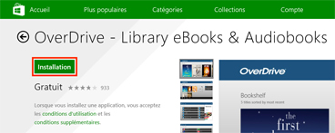Fiche de l'application OverDrive dans le Windows Store avec le bouton « Installation » encadré.