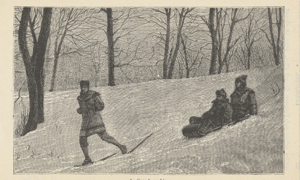 Print (detail): people snowshoeing and sliding.