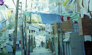 Photograph of an urban back alley.