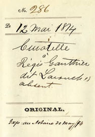 Guardianship of Régis Gauthier dit Larouche, May 12, 1874.