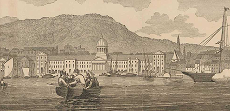Detail, illustration: boats on the water, against a backdrop of buildings and houses.