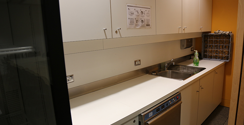 Close-up of the kitchenette: counter with sink, cupboards, fitted oven left of the sink and refrigerator.