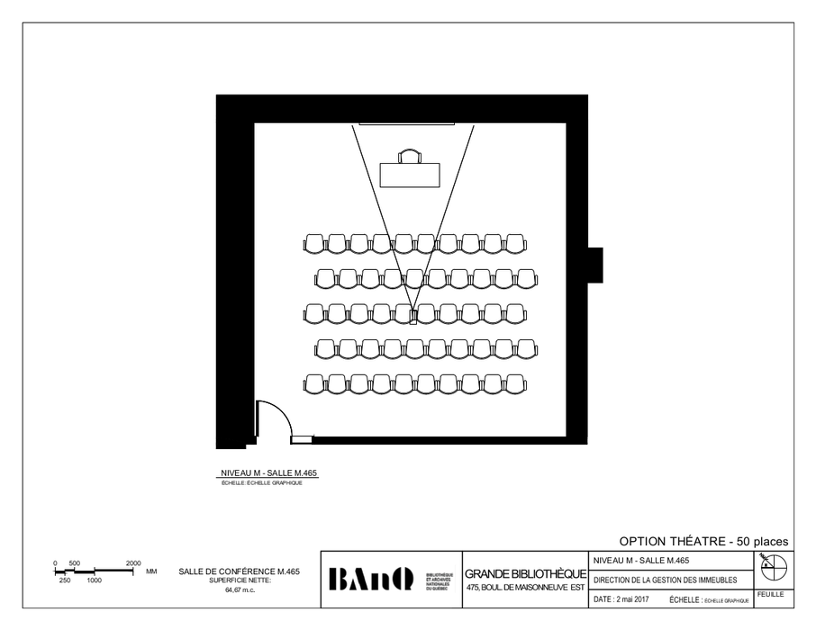 Plan of the room - Theatre-style layout - 50 seats - The plan displays chairs consisting of five rows of ten seats each, facing a desk.