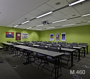 Room M.460 laid out with rows of tables and chairs.