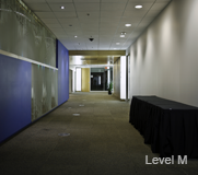 Full-length view of the Level M hall.